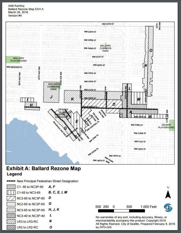 Ballard Urban Hub Rezone Map 2016